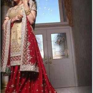 Pakistani Fashion Clothes - Red & Beige Lehnga