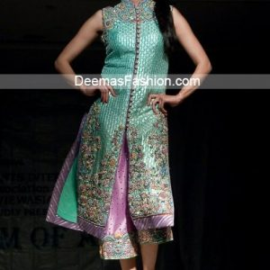Pakistani Latest Fashion - Ferozi Green Mauve Formal Dress