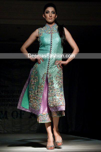 Pakistani Latest Fashion – Ferozi Green Mauve Formal Dress