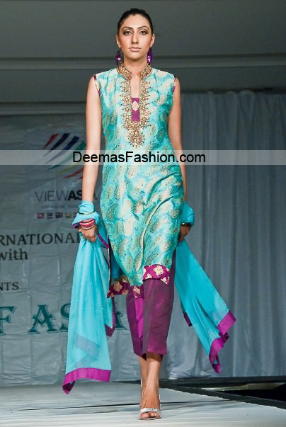 Latest Pakistani Designer Dress - Ferozi Magenta Formal Wear