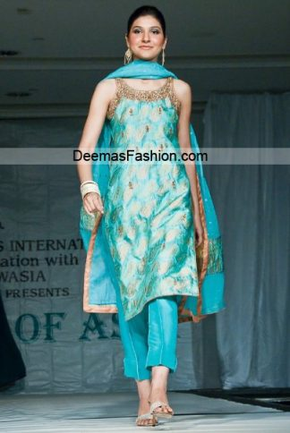 Pakistani Designer Wear - Blue Formal Dress