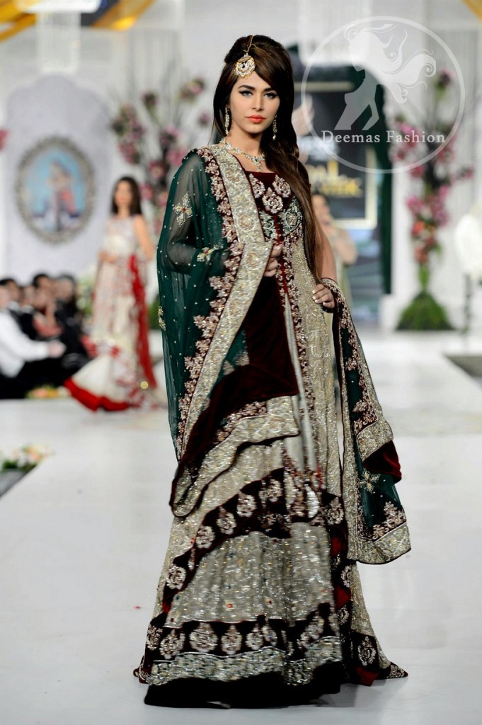 Fawn Heavy Bridal Lehnga - Bottle Green Dupatta and Front Open Gown with inner Velvet Bodice and Velvet Dupatta Back Hemming