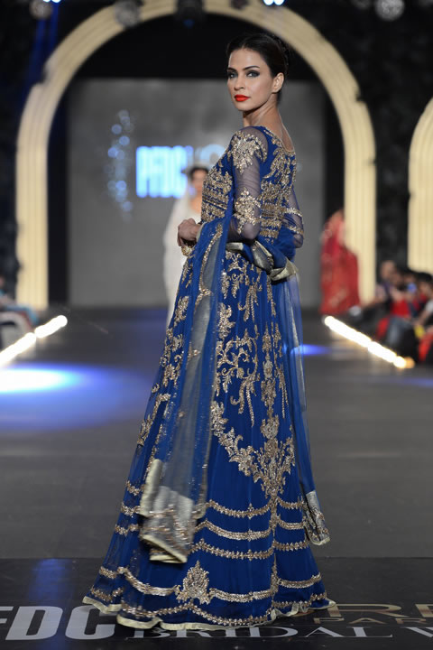 Royal Blue Heavily Embellished Bridal Maxi with Embroidered Dupatta Silver Applique