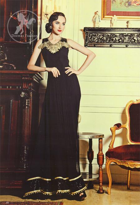 Black Evening Wear Embellished Neckline Dress
