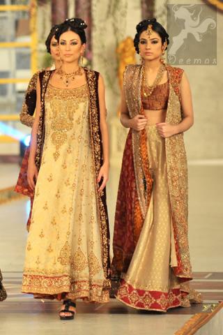 Beige Maroon Bridal Wear Gown A-line Frock