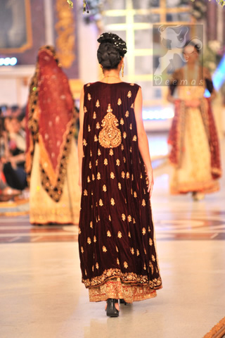 Back Picture of Beige Maroon Bridal Wear Gown A-line Frock