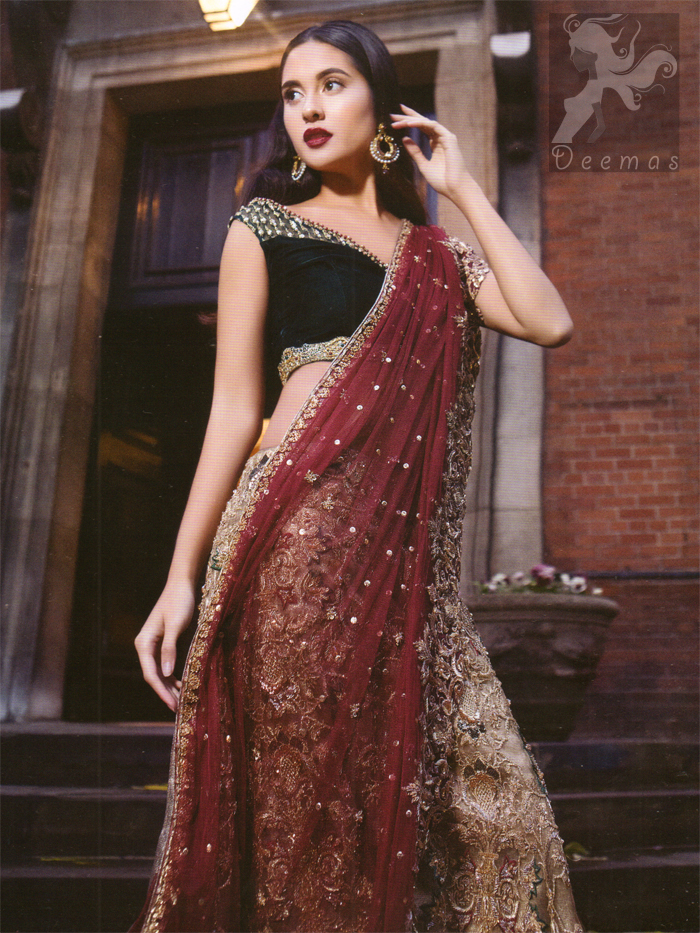 Black Velvet Blouse with Fawn Embroidered Skirt and Deep Red Dupatta