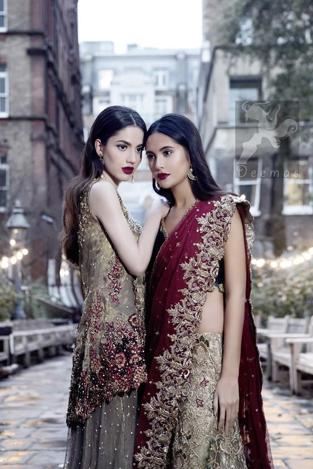 Bridal Wear Black Velvet Blouse With Fawn Embroidered Skirt And Deep Red Dupatta