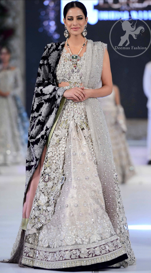 Latest Bridal Wear Ivory White Blouse & Lehenga 2016