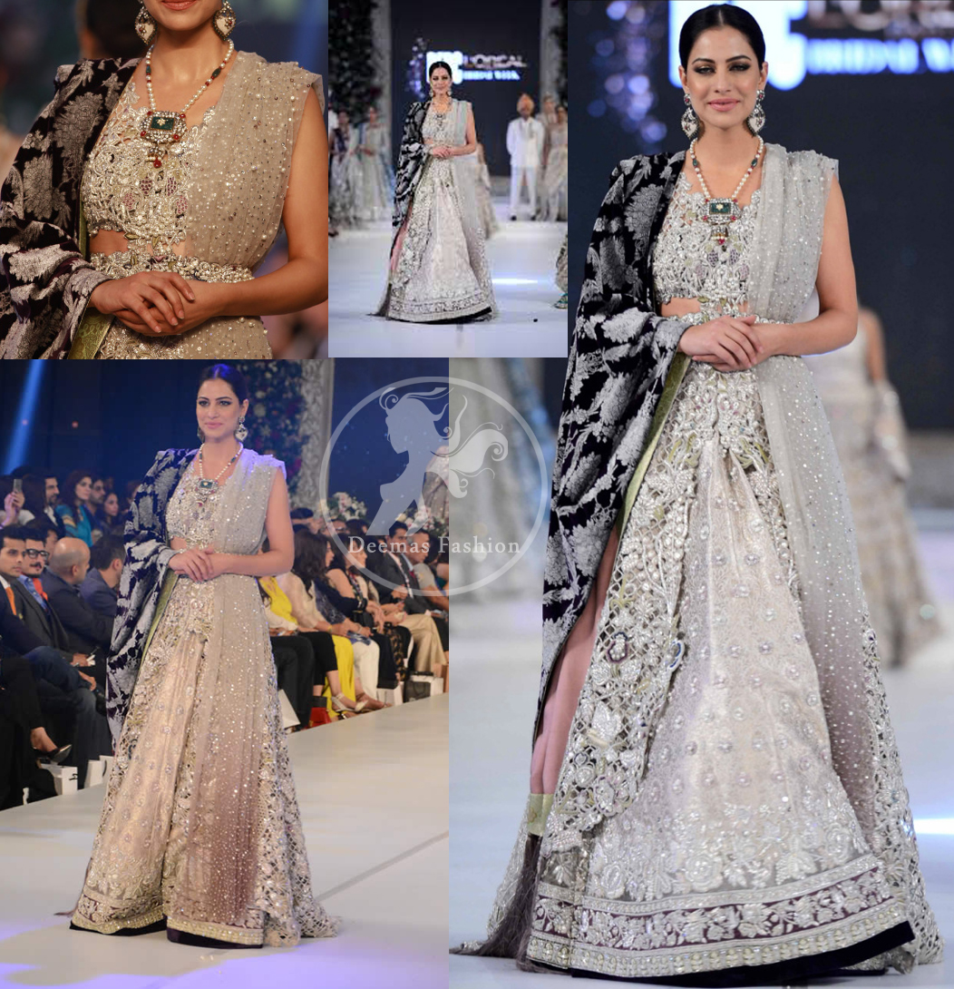 Latest Ivory White Blouse & Bridal Lehenga and Embroidered Dupatta 2016