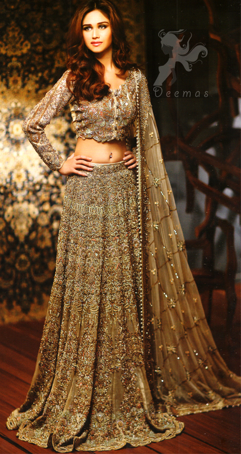Latest Bridal Collection 2016 - Light Fawn Heavy Lehengha with Blouse and Embroidered Dupatta