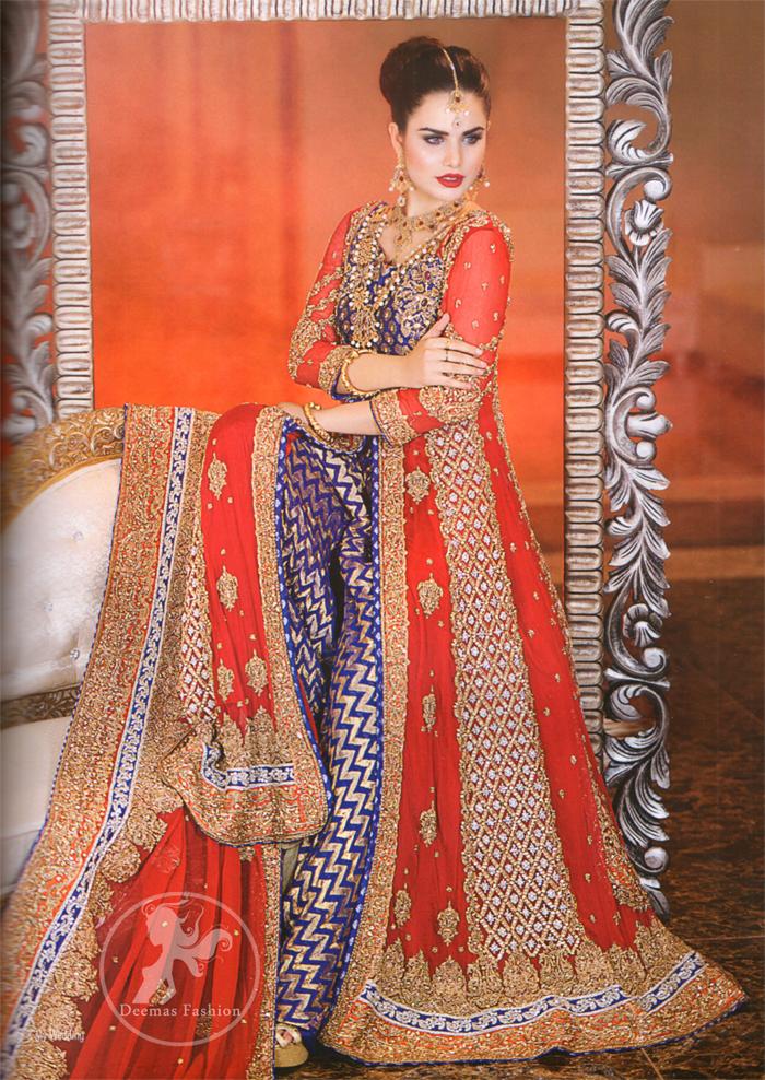 Bright Red Front Open Gown with Dupatta - Royal Blue Banarsi Shirt - Sharara