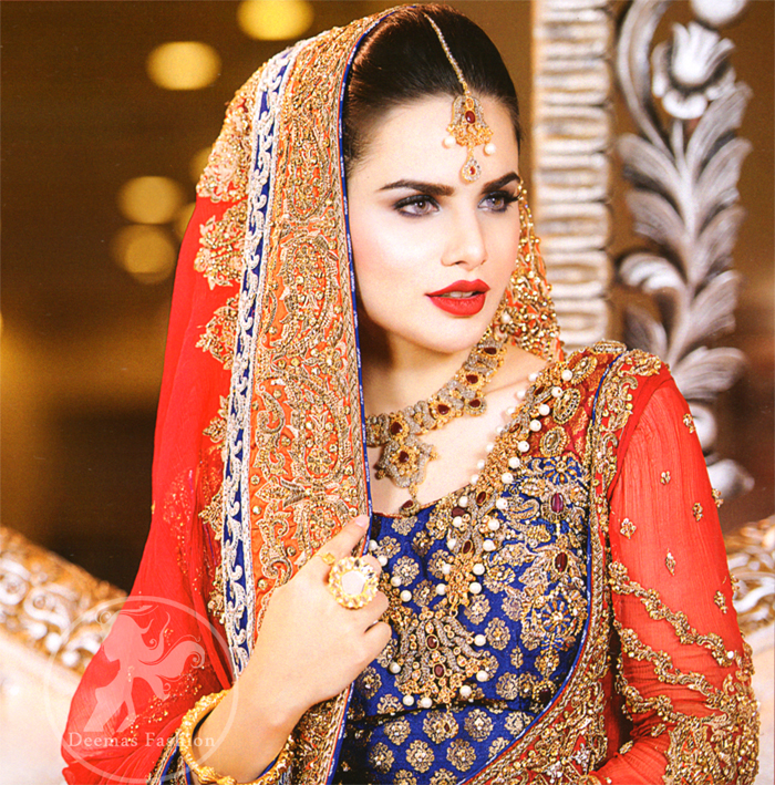 Bright Red Front Open Gown with Dupatta and Royal Blue Banarsi Shirt with Bridal Sharara