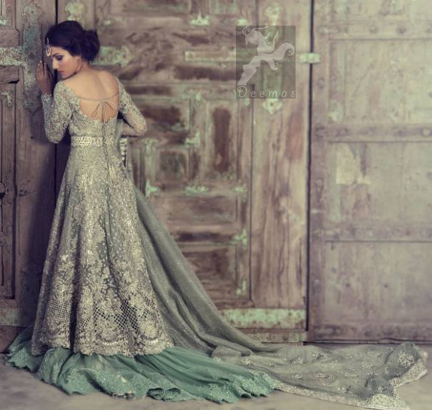 Mint Front Open Heavily Embroidered Bridal Gown With Back Trail Lehenga