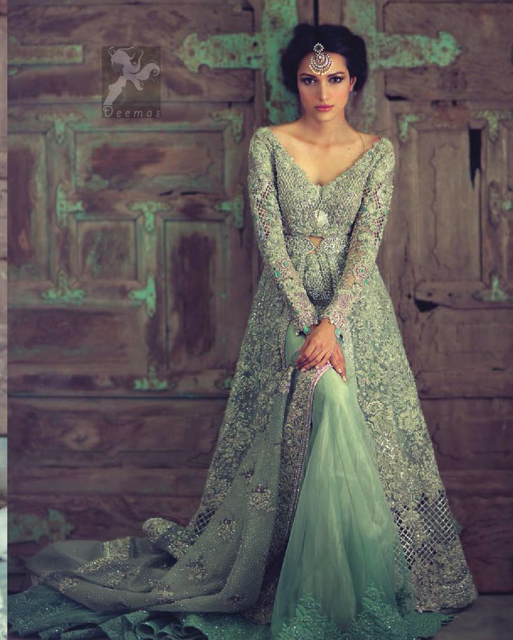 b02058cbab Mint Green Front Open Heavy Embroidery Gown For Bride With Back Trail  Lehenga and Dupatta