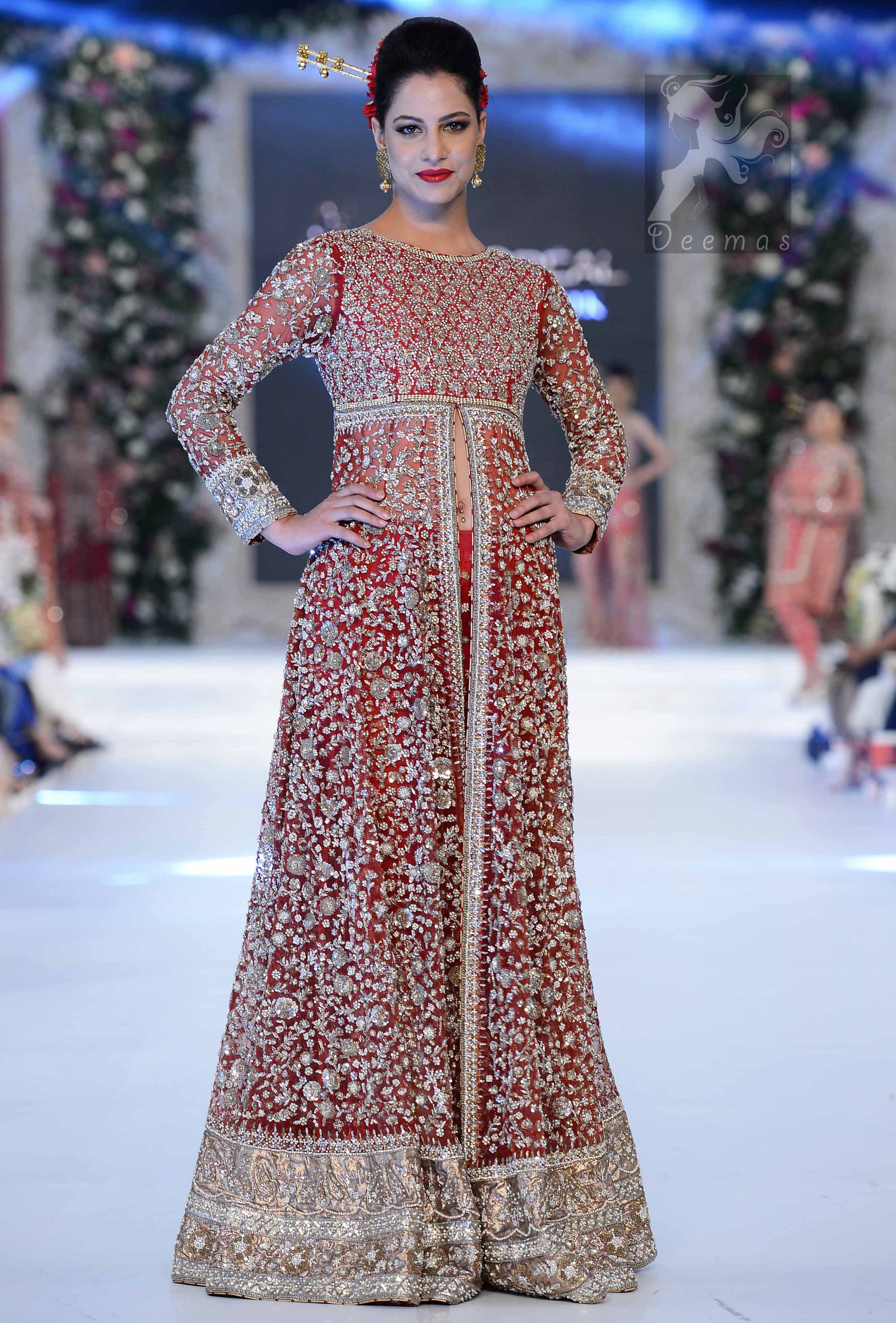 Latest Pakistani Bright Red Gown Embellished with Silver Embroidery for Brides with Capri Pants 2016