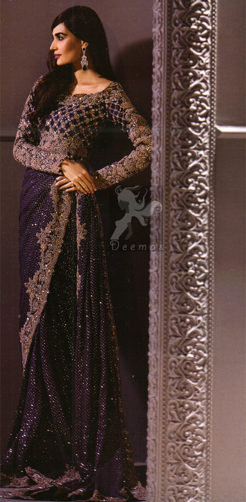 Dark Purple Designer Wear Embroidered Saree