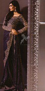 Designer Wear Saree - Dark Purple Embroidered Saree