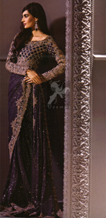Designer Wear Saree – Dark Purple Embroidered Saree