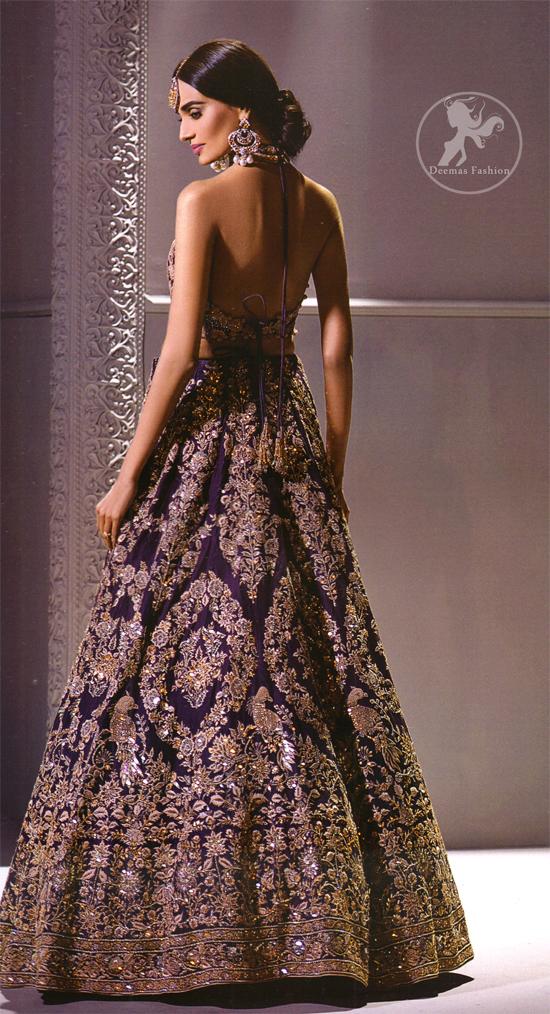 Dark Purple Bridal Blouse Lehenga Embroidered Dupatta