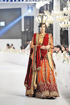 Deep Orange and Red Heavily Embroidered Bridal Lehenga For Baarat