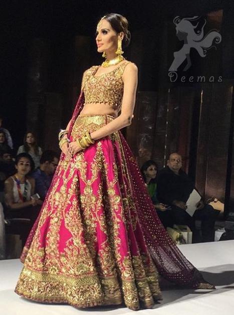 Deep Pink Embellished Blouse - Lehenga - Bridal Dupatta