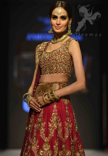 Designer Wear Deep Pink Embellished Blouse with Lehenga and Bridal Dupatta 2016