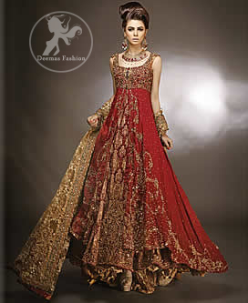 Red double layer front open bridal gown for Indian wedding dresses uk