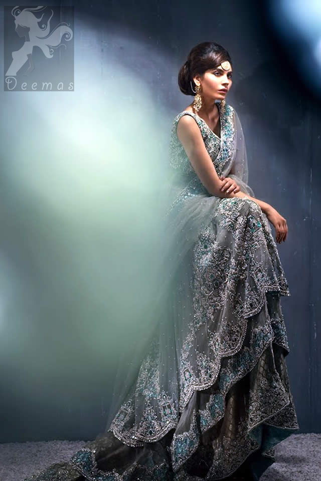 Designer Wear Light Grey Double Layer Back Trail Frock Lehenga Dupatta