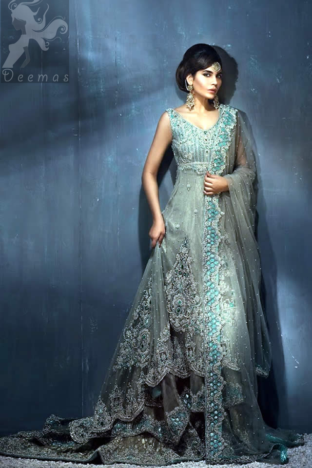 Light Grey Double Layer Back Trail Wedding Wear Frock with Lehenga and Dupatta