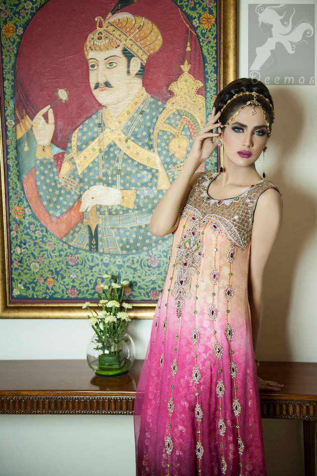 Latest three colour heavy embroidered pishwas with churidar 2016