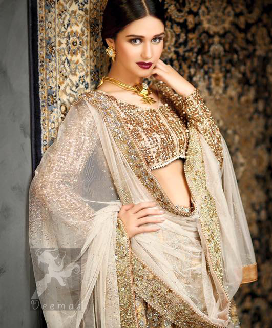 Latest Bridal Ivory White Fawn Short Blouse and Lehenga