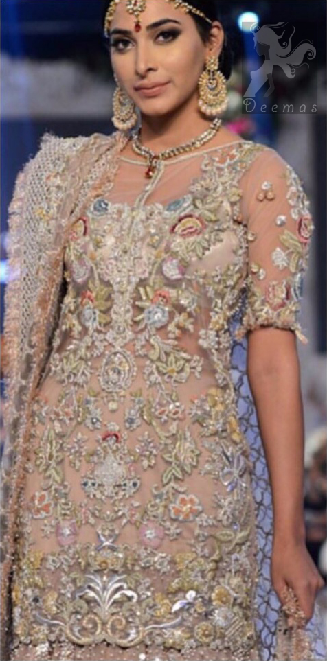 Latest Designer Dress 2016 Light Fawn Embroidered Shirt and Lehenga