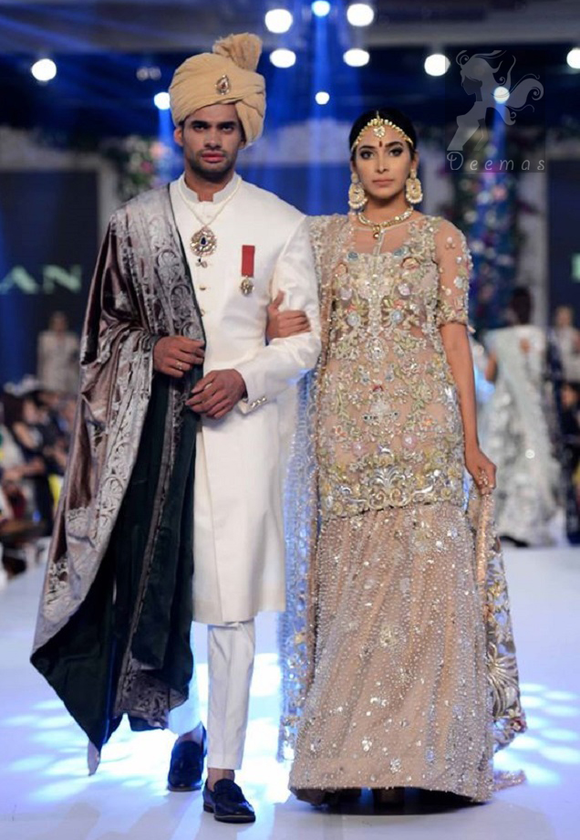 Latest Light Fawn Embroidered Shirt and Designer Wear Lehenga