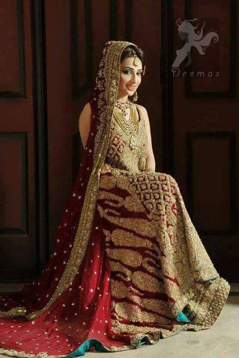 Deep Red Back Trail Shirt - Light Golden Lehenga