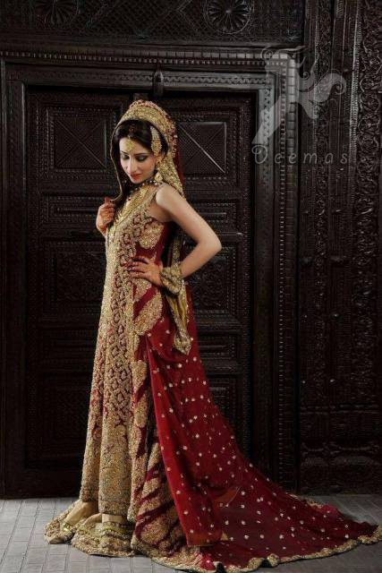 Deep red back trail shirt light golden lehenga for Asian red wedding dresses