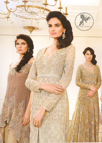 Latest Ivory White Formal Wear Front Open Gown with Embroidered Trouser