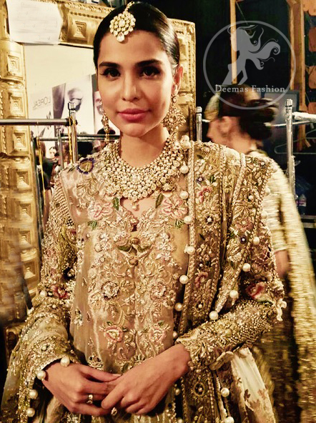 Latest Pakistani Bridal Dress Light Fawn Fully Embroidered Double Layer Pishwash Dupatta