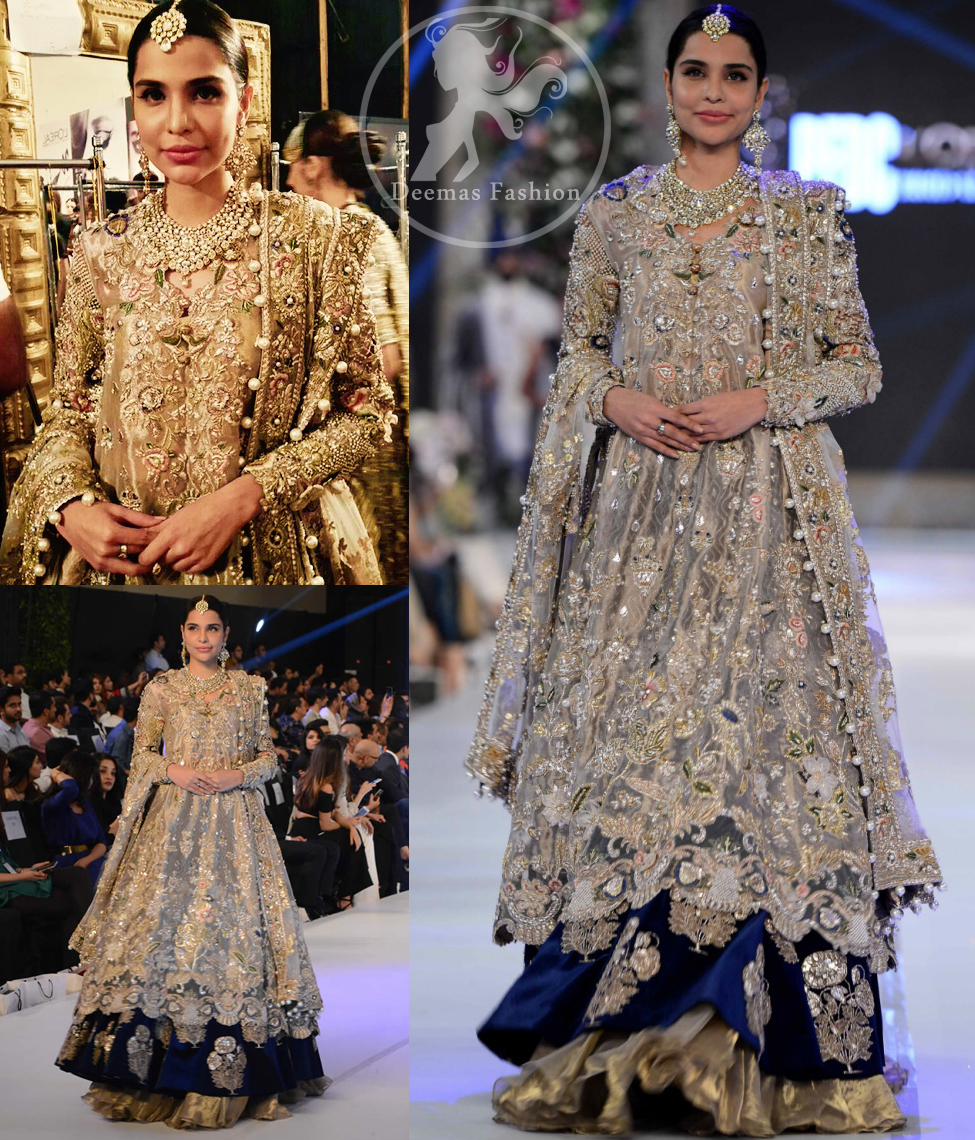 Latest Pakistani Bridal Dress Light Fawn Fully Embroidered Double Layer Pishwash Dupatta with Golden Lehenga