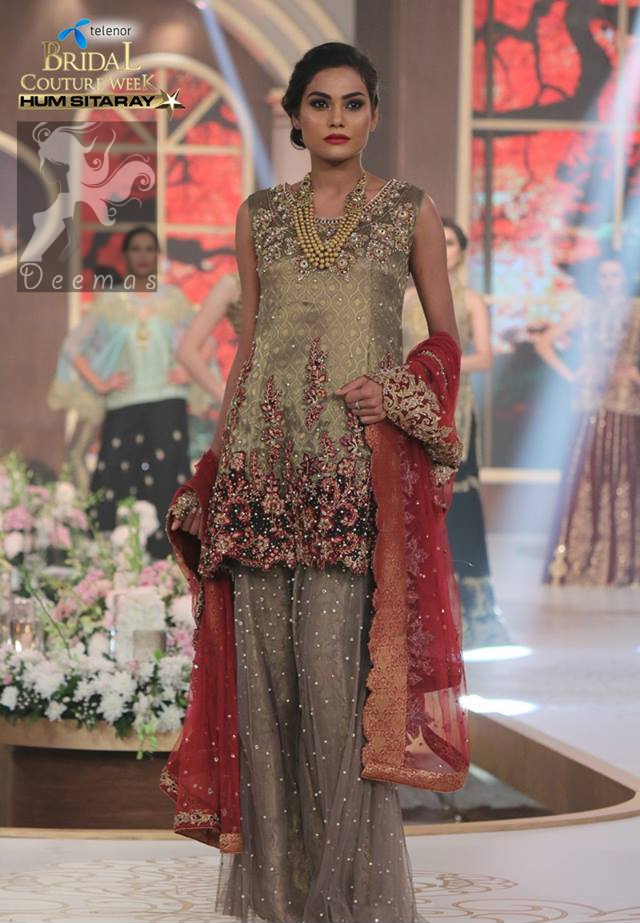 Designer Collection Wear Grayish Brown Short Shirt - Sharara - Red Dupatta
