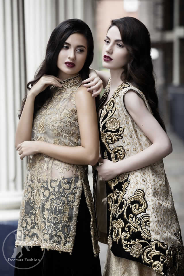 Black Jacket having Light Golden Embroidery with Banarsi Blouse and Lehenga