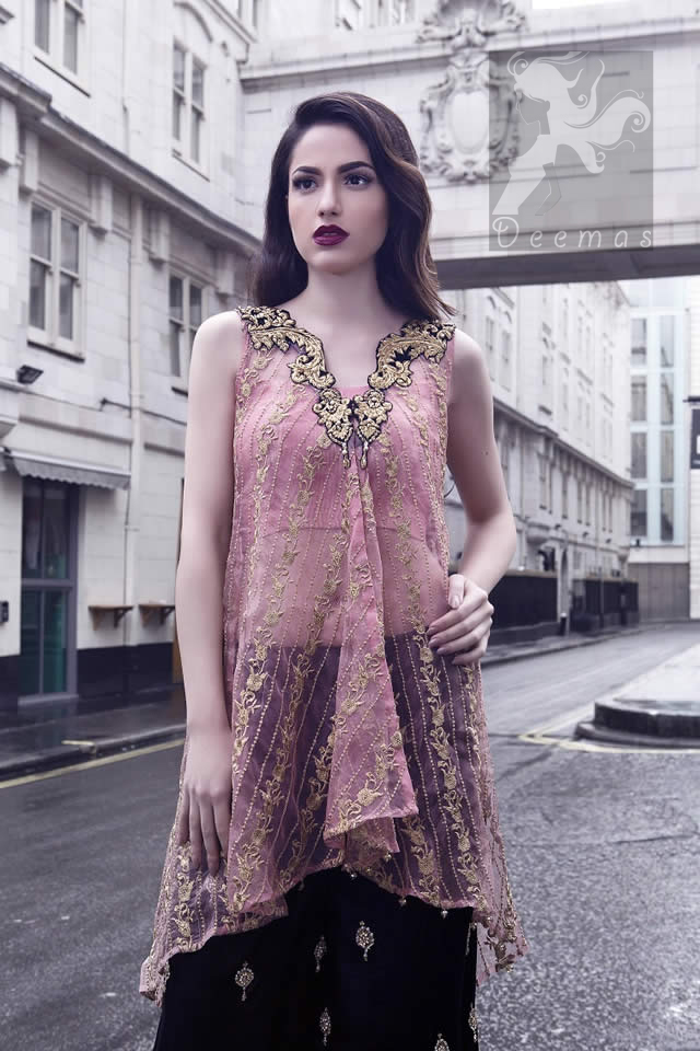 Latest Pakistani Pink Party Wear Small Length Shirt & Embroidered Sharara or Loose Trouser 2016