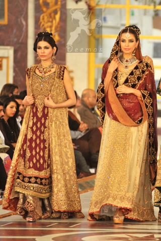 Latest Designer Wear Maroon Fawn Bridal Gown and Sharara