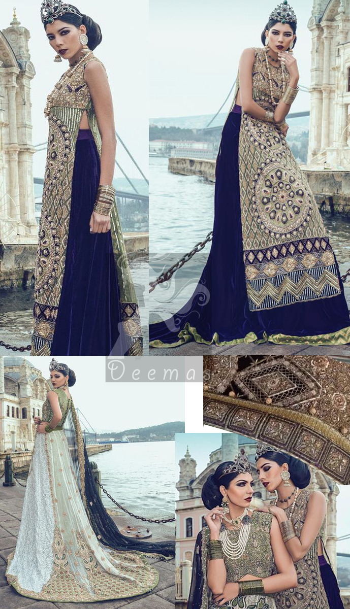 Latest Mehndi Green Embroidered Blouse with White Back Trail Lehenga and Dark Blue Dupatta