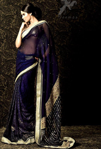 Latest Saree Designs 2017 - Navy Blue Designer Wear Saree