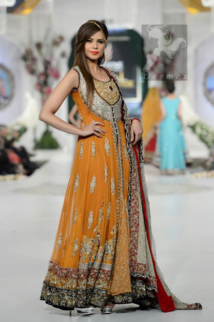Latest Orange Mehndi Wear Front Open Gown Dupatta