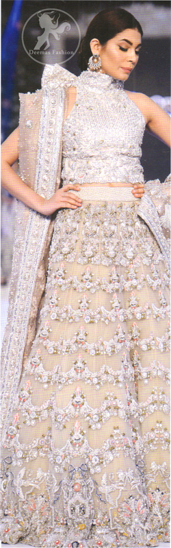 Latest Pakistani Bridal Fawn Blouse and Fully Embroidered Sharara