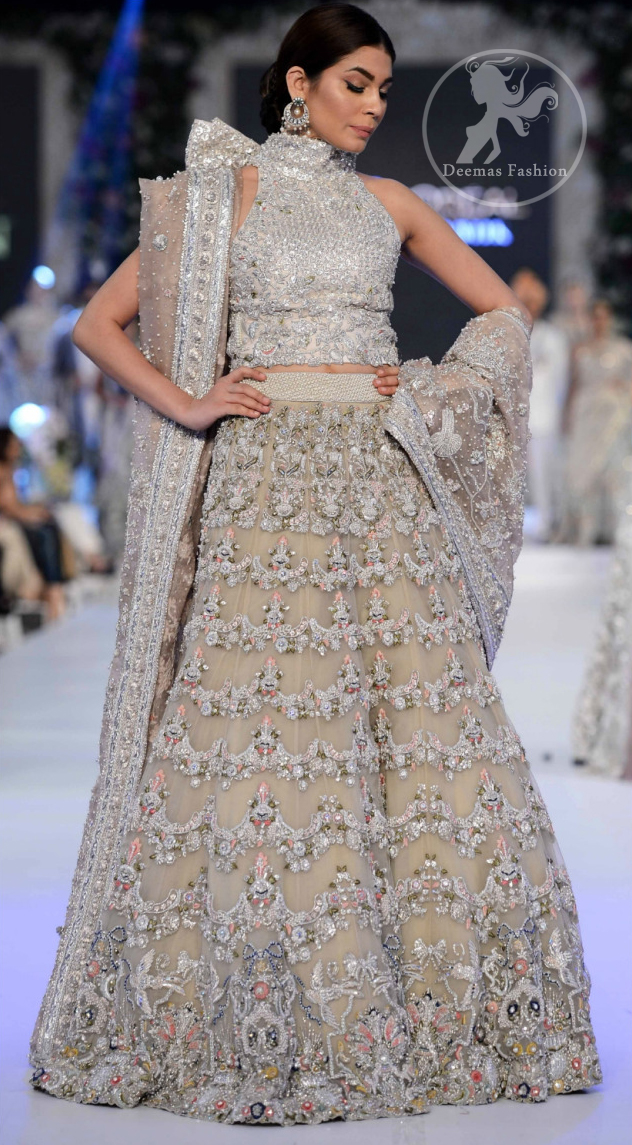 Latest Pakistani Bridal Wear Fully Embroidered Sharara and Fawn Blouse