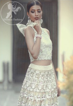 Latest Pakistani Bridal Wear Sharara and Fully Embroidered Fawn Blouse with Dupatta