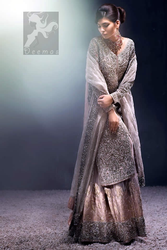 Silver Grey Front Open Gown - Organza Dupatta & Lehenga